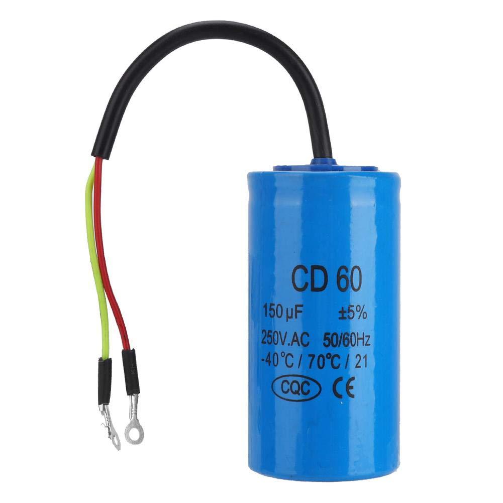 Condensador continuo Cd60 con plomo 250 V CA 150 uF 50/60 Hz para compresor de aire de movimiento