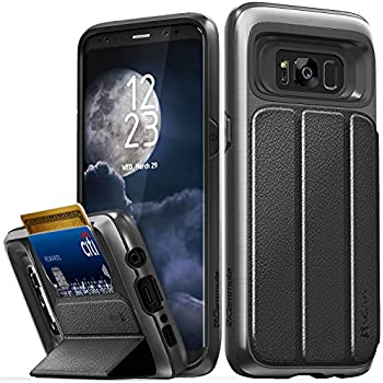 Galaxy S8 Wallet Case, Vena [vCommute][Military Grade Drop Protection] Flip Leather Cover Card Slot Holder with KickStand for Samsung Galaxy S8 (Space Gray / Black)
