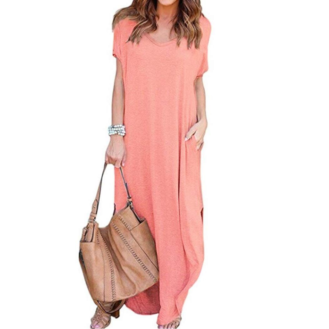 COSYOU Summer Maxi Long Women Dress Solid Straight Loose Short Sleeve Split Pockets Ladies Casual Party Vestidos Dresses (Pink, M)