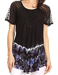 Clarice Petite Raglan Lace Up Tie Dye Blouse with...