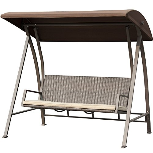 Porch Swing Outdoor Lounge Chair Seats 3 Patio PE Wicker Glider Bench with Steel Frame and Padded Cushion, Dark Brown by PatioPost (Image #1)