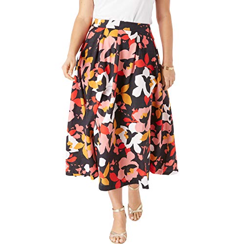 Jessica London Women's Plus Size Floral Skirt - 22 W, Coral Graphic Floral