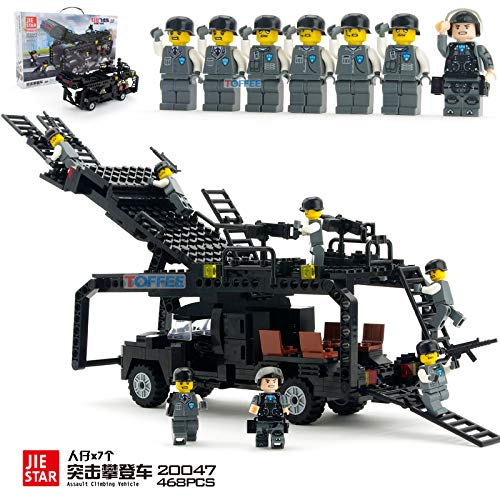 PampasSK Blocks - City Police SWAT Helicopter Boat Armored car Assault Vehicle Building Blocks Compatible with Most Brand Construction Brick 1 PCs