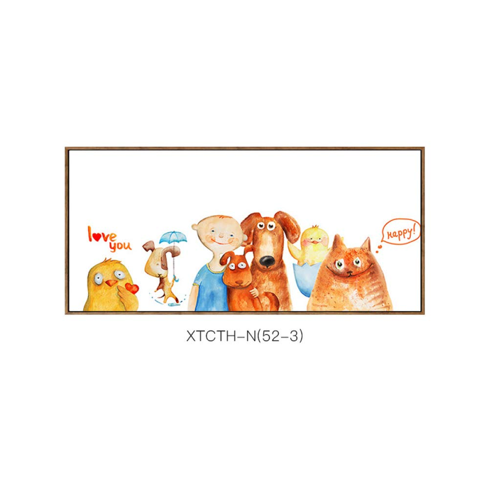 DEED Pintura Decorativa de la Historieta Linda de la habitación de los niños, versión Horizontal del Mural Independiente de la inyección de Tinta, Pintura de cabecera Pintura Caliente Sola,B,50  150