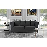 Classic Chesterfield Scroll Arm Linen Living Room Sofa with Nailhead Trim (Dark Grey)