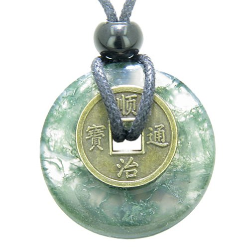 Moss Agate Pendant Necklace - 7