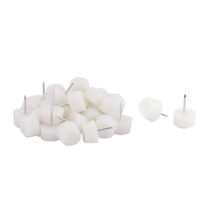Home Furniture Foot Leg Round Base Protector Gliding Nails White 16mm Dia 30pcs