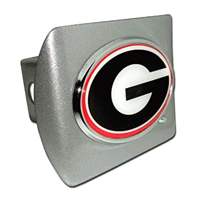 "University of Georgia Bulldogs ""Brushed Silver with Chrome ""G"" and Color Emblem"" Trailer Hitch Cover Fits 2 Inch Auto Car Truck Receiver with NCAA College Sports Logo: Automotive"