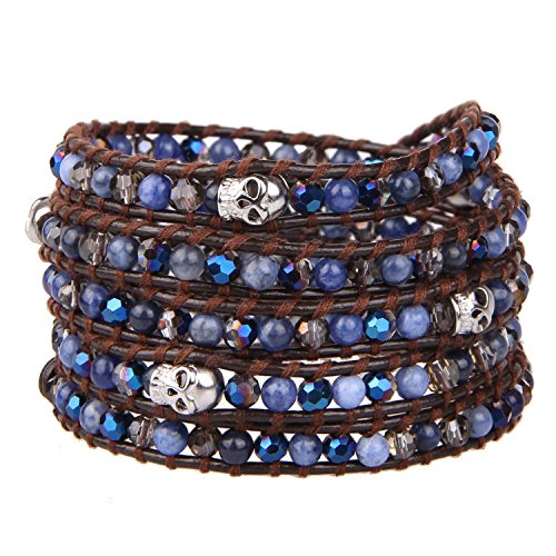 KELITCH Women Bracelet Leather with Crystal Beads and Skull Wrap Braclets Fashion Jewelry