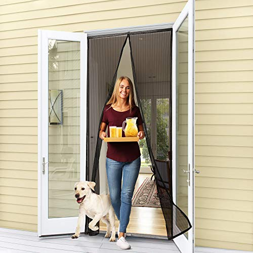Flux Phenom Reinforced Magnetic Screen Door, Fits Doors up to 38 x 82-Inch, Black