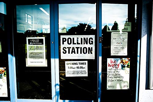 Home Comforts Peel-n-Stick Poster of Polling Station Sign Doors Vivid Imagery Poster 24 x 16 Adhesive Sticker Poster -