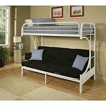 Amazon Com Eclipse Twin Over Full Futon Bunk Bed White Kitchen