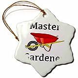 3dRose ORN_123089_1 Master Gardener Gardening Wheelbarrow Snowflake Ornament Porcelain, 3-Inch
