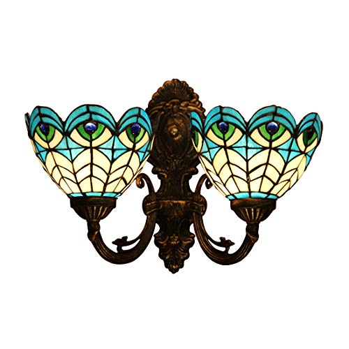 Makenier Vintage Tiffany Style Stained Glass Peacock Feather 2-Light Wall Sconce, 7 Inches Lampshade
