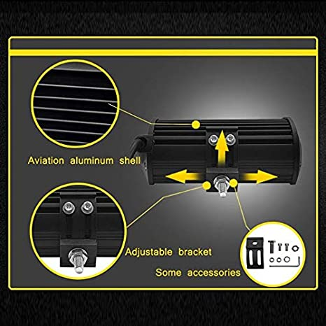WOVELOT 1Pcs LED Barre de Lumi/èRe de Travail 135W 5 Pouces 6000 K Spotlight pour Voiture 4X4 Feux de Travail Tout Terrain pour Tracteur Moto Bateau 12V Phare de Brouillard