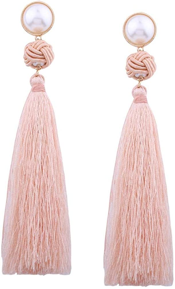 Fossrn Pendientes Mujer Largos Flecos Vintage Bohemio Weave Tassel Pendientes de gota