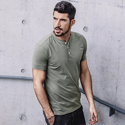 Men Casual T Shirt V Neck Short Sleeve Cotton Button Stylish Loose Slim Fit Sport Workout Outdoor Wear Gym Beach Party Hiking Travel Business Working Weekend Henley Shirts High Elasticity(MArmyGreen) by VAVE (Image #4)