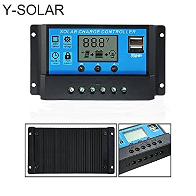 Y-SOLAR 10A/20A/30A/40A LCD Dual USB Solar Charge Controller 12V/24V Auto Switch With Light Timer Control