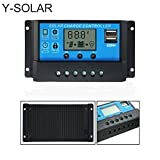Y-SOLAR 10A/20A/30A/40A LCD Dual USB Solar Charge Controller 12V/24V Auto Switch With Light Timer Control (30A)