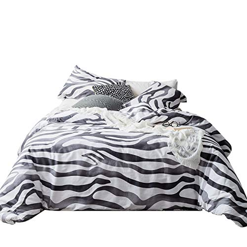 SUSYBAO 3 Piece Duvet Cover Set 100% Natural Cotton King Size Black and White Tiger Print Bedding Set with Zipper Ties 1 Zebra Print Duvet Cover 2 Pillowcases Hotel Quality Soft Breathable Durable ()