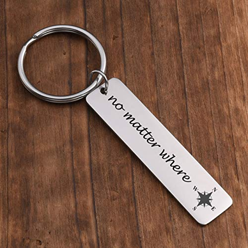PiercingJ Personalized Engraved Custom Name Date No Matter Where Compass Keychain Stainless Steel ID Dog Tag Key Ring for Couples Best Friend Long Distance Relationships Gift by PiercingJ (Image #4)