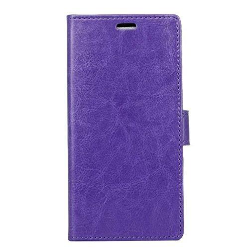 Cristal de grano de cuero de la cartera de teléfono de la caja de la bolsa Retro Flip Stand Cover con tarjeta de efectivo tragamonedas y función de pie para Sony Xperia XA1 ( Color : White ) Purple