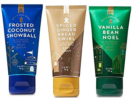 Bath and Body Works 3 Pack Travel Size Body Cream 2.5 Oz. Frosted Coconut Snowball, Spiced Gingerbread and Vanilla Bean ()