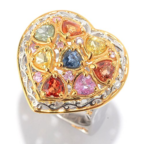 lladium Silver Fancy Colored Sapphire Heart Ring (Hearts Ring Palladium Ring)