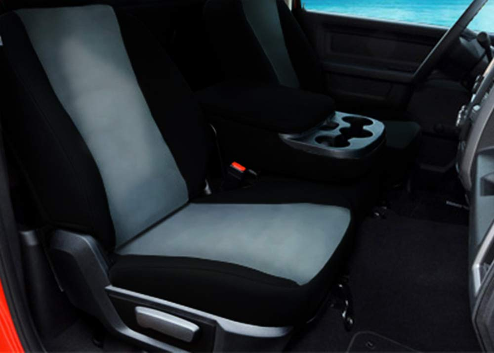 CarsCover Custom Fit 2017-2018 Dodge Ram 1500 2500 3500 Pickup Truck Neoprene Car Front Seat Covers Gray & Black Sides Driver & Passenger Cover by CarsCover (Image #3)