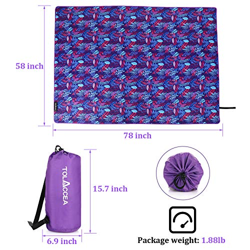 """Tolaccea Picnic Mat Beach Blanket Lightweight three-layer structure Extra Large 58"""" x78""""Double-sided waterproof Sand prevention beach mat For beaches parks camping hiking and family concerts"""