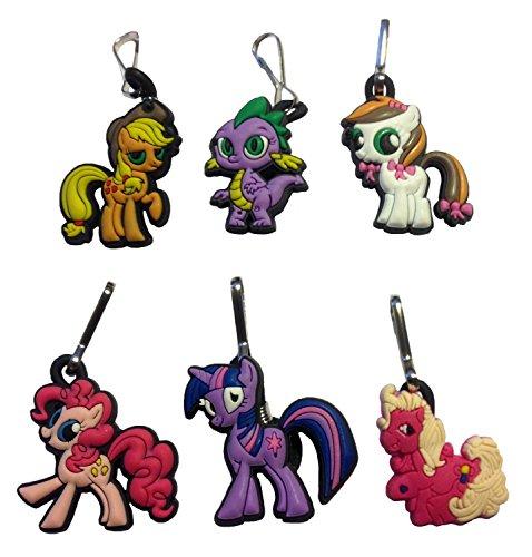 [Little Pony Snap Hook Zipper Pulls 6 Pcs Set #2] (Disney Tinker Bell Kids Sparkle Shoes)