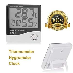 discountseller Digital pantalla LCD Medidor de temperatura humedad termómetro higrómetro con reloj calendario alarma