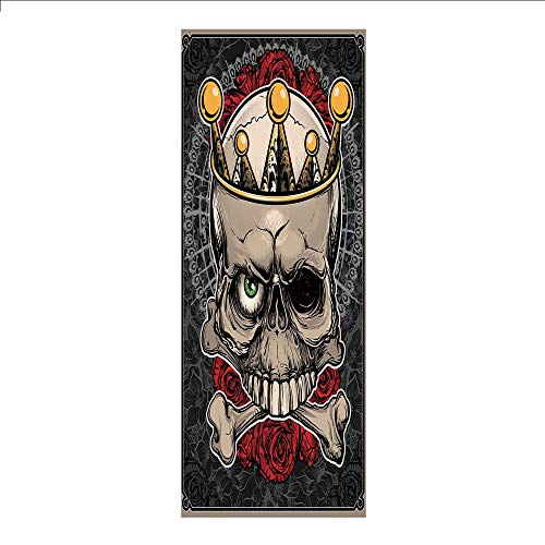 3D Decorative Film Privacy Window Film No Glue,Gothic Decor,Skull with Crown Roses Bones Dead King Halloween Illustration,Tan Marigold Dark Grey red,for Home&Office ()