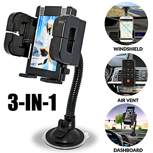 Universal 3-in-1 Car Cell Phone Holder, Windshield Long Arm Phone Holder, Dashboard, Air Vent, Stand with Photo Frame for iPhone X/8/7/7P/6s/6P/5S,Galaxy (Car Picture Photo)