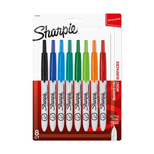 Sharpie Retractable Permanent Markers, Ultra Fine Point, Assorted Colors, 8-Count