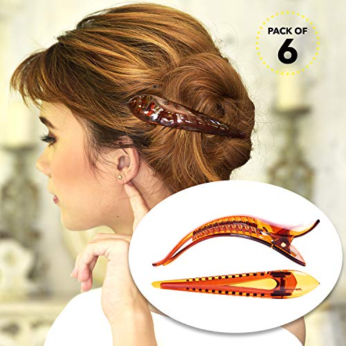 RC ROCHE ORNAMENT Womens Hair Clip Professional Styling Sectioning Inner Teeth Curve Durable Alligator Duck Bill Jaw Strong Secure Grip Salon, 6 Pack Count Medium Brown
