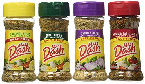 Mrs. Dash Seasoning Blends Variety Flavor 4 Pack 2.5 oz - Onion & Herb - Table Blend - Tomato Basil Garlic - Original Blend Set Bundle