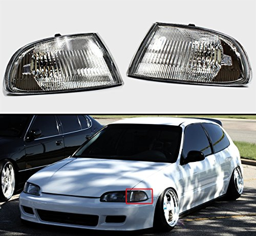 Jdm Clear Corner - Fits for 1992-1995 Honda Civic 2/3 Door EG JDM Vision Corner Lamp Turn Signal Lights Clear Lens