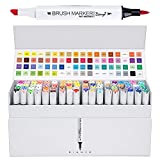 #9: Bianyo Dual Tip Art Marker Pens- Soft Brush and Broad Tips, Art Permanent Highlighters for Designing, Drawing, Coloring, 72 Colors