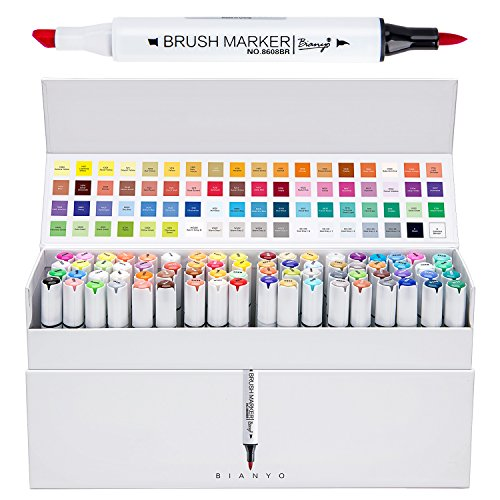 Bianyo Artist Alcohol Dual Marker Pens- Soft Brush and Broad Tips, Art Permanent Sketch Markers for Designing, Drawing, Coloring Skin, 72 Colors by Bianyo