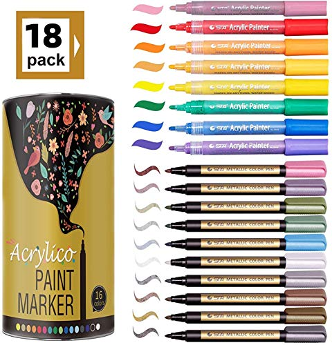 Marker Pens Set of 18 Colors Acrylic Painter Ink Markers for Card Making Rock Painting DIY Photo Album Scrapbook Crafts Metal Wood Ceramic Glass