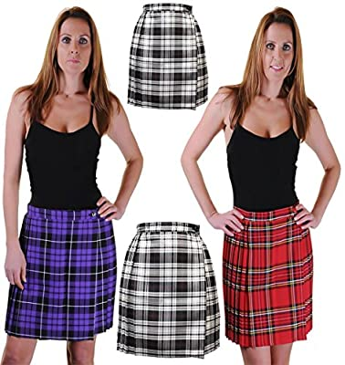 Rimi Hanger Womens Pleated Wrap Over Tartan Print Skirt Ladies Buttoned Kilt Scottish Skirt US 4 To US 20