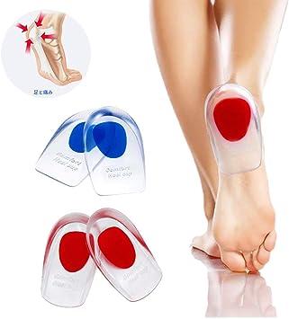 足底筋膜炎のインソールかかと クッション インソール かかと 中敷き シリコン 足 衝撃吸収シリコンジェルヒールカップかかとの痛み、骨の痛み、アキレスの痛みのための靴の挿入-女性と男性のための2ペアのパッド衝撃吸収サポート赤&青セット2足分