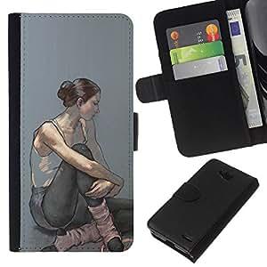 KLONGSHOP // Tirón de la caja Cartera de cuero con ranuras para tarjetas - Bailarina Mujer Arte Pintura - LG OPTIMUS L90 //
