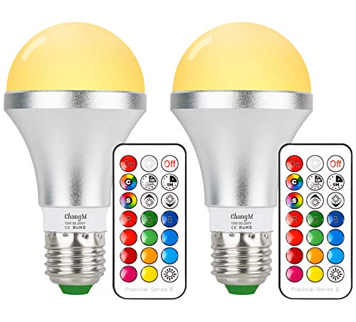 - LED Color Changing Light Bulbs Warm White E26 10W RGB Light Bulbs with 21key Remote Control, 60W Incandescent Equivalent, Memory Function, RGB + Warm White, Dimmable with Remote, Pack of 2