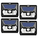 LITOM Solar Lights Outdoor, Wireless LED Solar Motion Sensor Lights with Wide Angle, IP65 Waterproof Security Lights for Front Door Yard Garage Deck Porch Shed Walkway Fence (4 Pack)