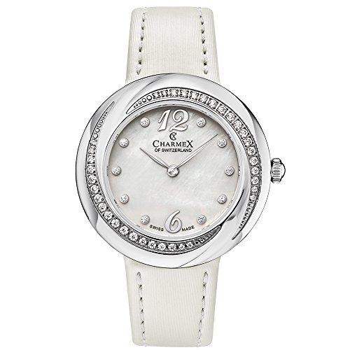 Charmex Women's Deauville 34mm White Leather Band Steel Case Sapphire Crystal Quartz MOP Dial Watch 6370