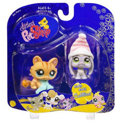 Littlest Pet Shop Pet Pairs Lop Ear Bunny with Cat in Winter Gear