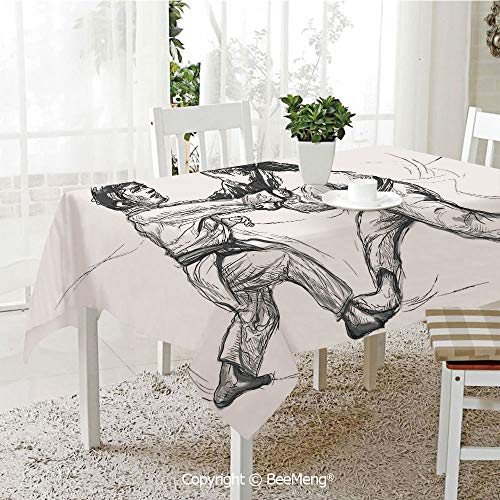 BeeMeng Large Family Picnic Tablecloth,Easy to Carry Outdoors,Asian,Karate Eastern Martial Arts Fighting Men Combat Traditional Hand Drawn Print,Light Grey White,59 x 104 inches