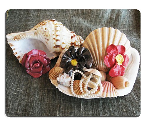 Luxlady Gaming Mousepad Seashell wiht pearl and ceramic flowers IMAGE ID 5338341